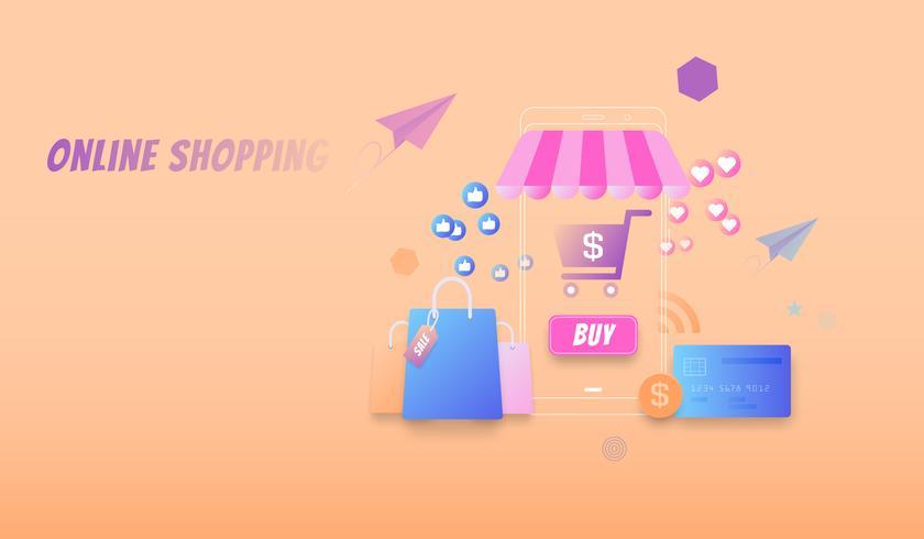 Concepto plano moderno de compras en línea, compra en línea por teléfono inteligente, vector de mercado en línea