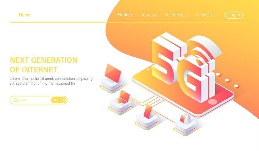 Sistemi wireless di rete mobile isometrica 5G e illustrazione vettoriale di internet. Concetto di rete di comunicazione