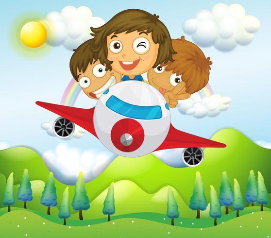 Un avión con tres niños juguetones.