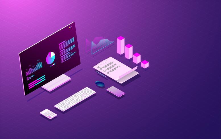sistema di analisi aziendale su computer laptop e schermo grafico, sviluppo web e vettore di codifica.