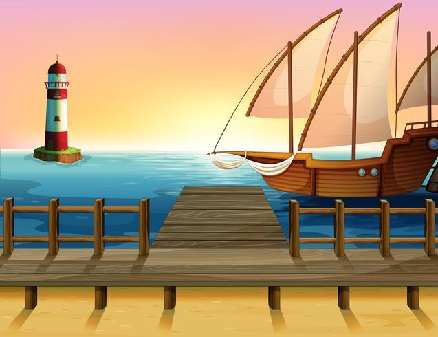 Een schip dat de zee verkent