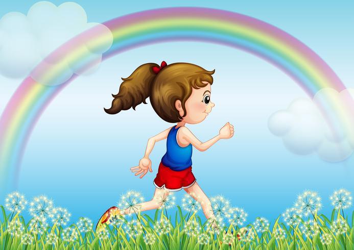 Uma garota correndo com um arco-íris no céu