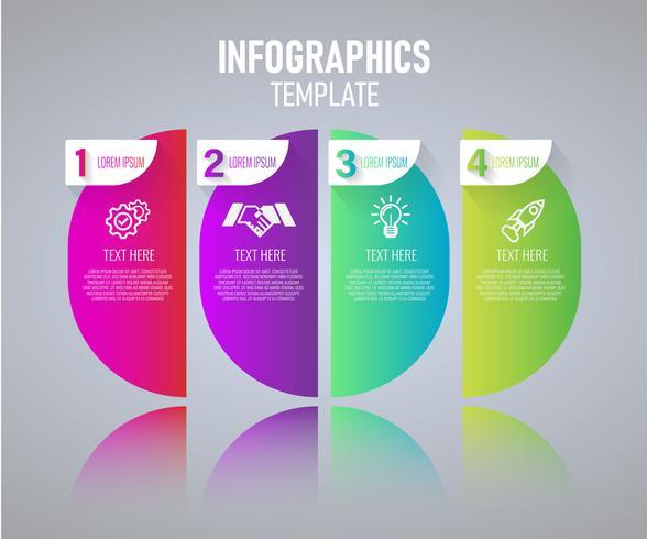 Kleurrijke Infographics sjabloonontwerp, abstracte elementen van grah met stappen. vector