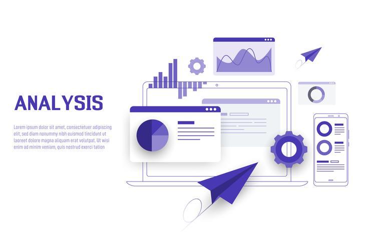 Análisis de datos móviles, portátiles, de investigación, de planificación, estadísticos, financieros, infográficos, de gestión de vectores. Vector
