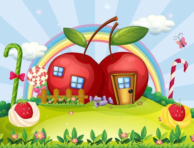 Una collina con due case di mele e un arcobaleno
