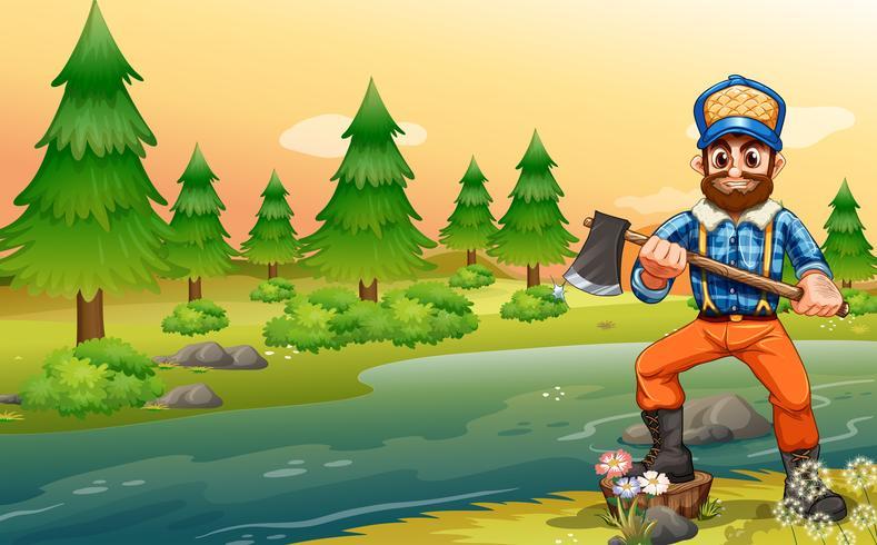 En woodman nära floden