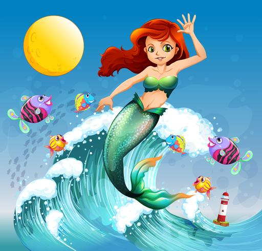 Uma grande onda com uma sereia e um cardume de peixes