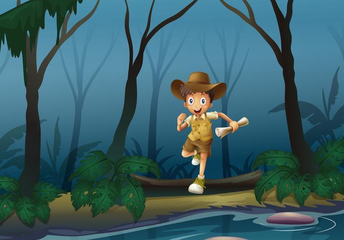 Um aventureiro na floresta vetor