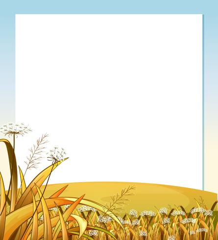 An empty template with a hilltop with plants vector