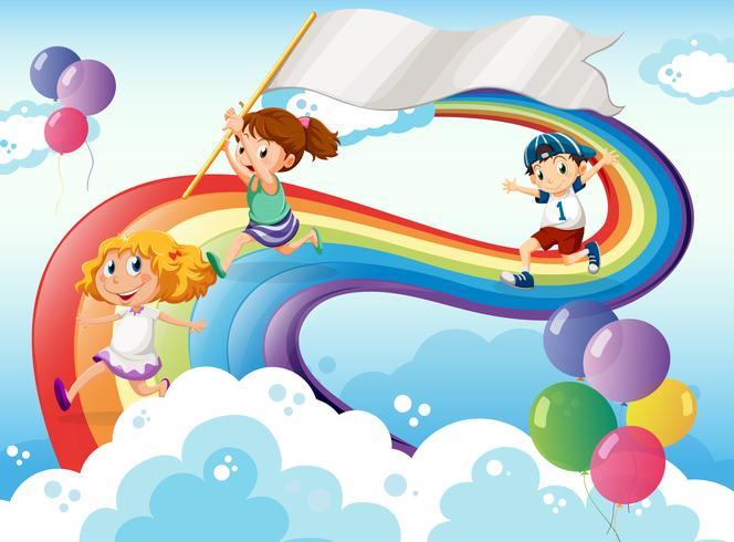 Niños jugando por encima del arco iris con una pancarta vacía