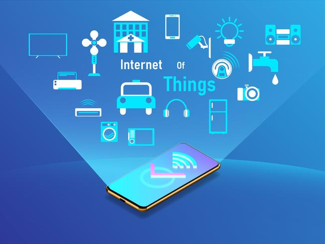 Internet de las cosas concepto de diseño con teléfono inteligente. Ilustración vectorial