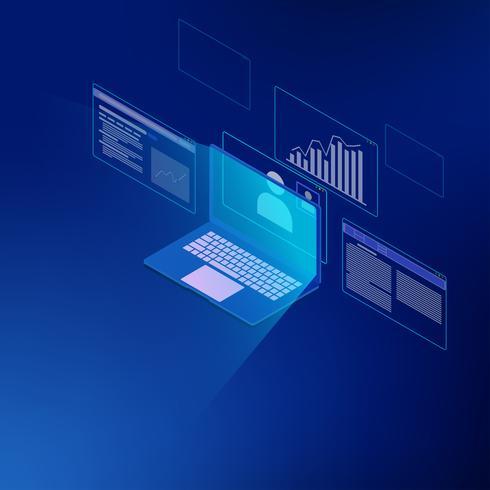 Isométrico do sistema de análise de negócios vetor