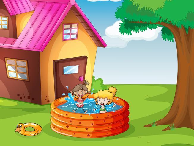 una casa e bambini