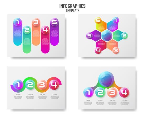 Collection d'éléments infographiques boules colorées 3d, Vector infochart pour les entreprises, rapport de marketing