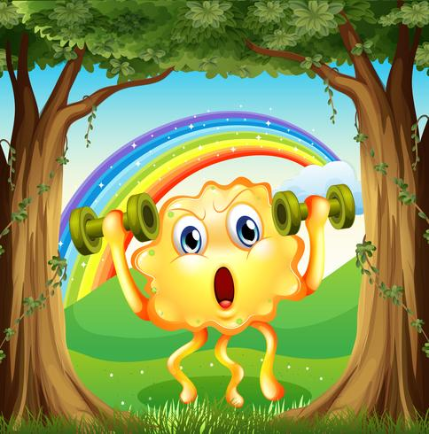 Un mostro che si esercita nella foresta con un arcobaleno nel cielo