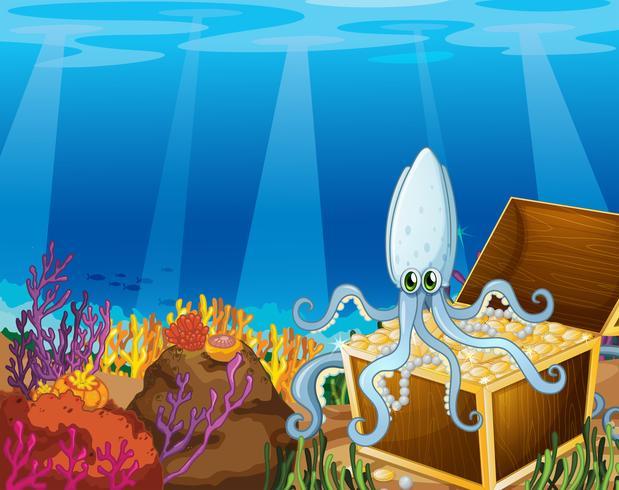 Eine Schatzkiste unter dem Meer mit einer Krake
