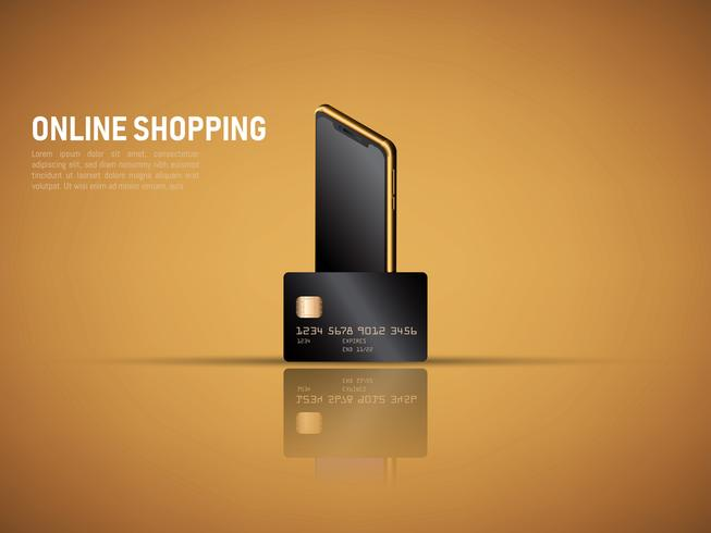 vector of mobile payment by smartphone and credit card ,secure online shopping concept.