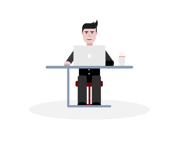 Working businessman in font of laptop vector