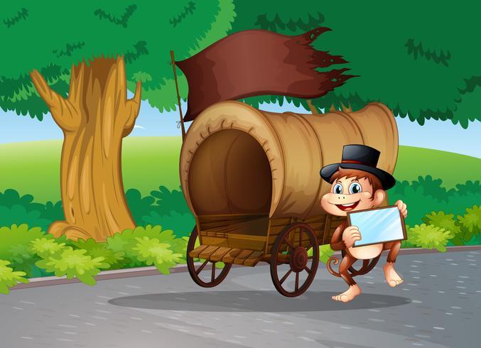 Een aap in de straat die naast de wagen staat met een leeg bord