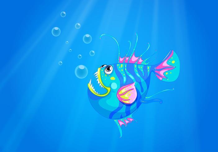 Um peixe no oceano com presas pontiagudas afiadas