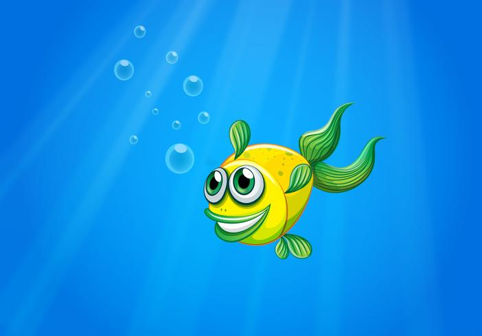 A smiling yellow fish underwater