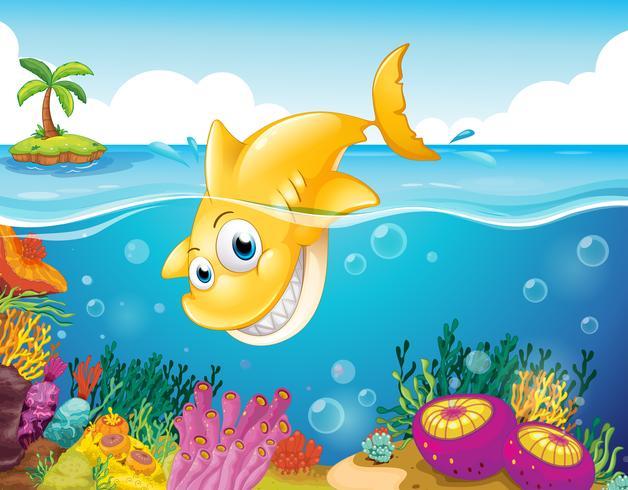 Ein gelber Hai taucht ins Meer ein