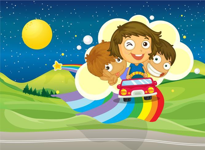 Tre bambini in sella a un'auto che passa sopra l'arcobaleno vettore