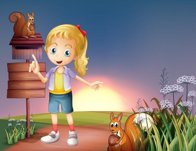 Een meisje op de heuvel met twee eekhoorns en een leeg bord vector