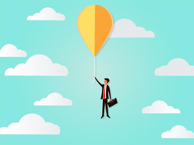 Flying businessman with balloon creative idea to success of business