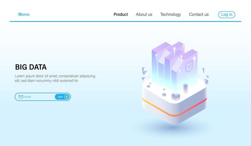 Isometrisch van Big data verwerking en data hosting server concept, datacenter, blockchain-technologie en cloud online opslag Vector. vector