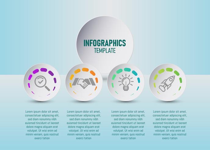 O vetor de modelo de infográficos coloridos para seu planejamento de negócios com 4 etapas, elementos de infográfico de cronograma para o seu marketing. vetor plana.