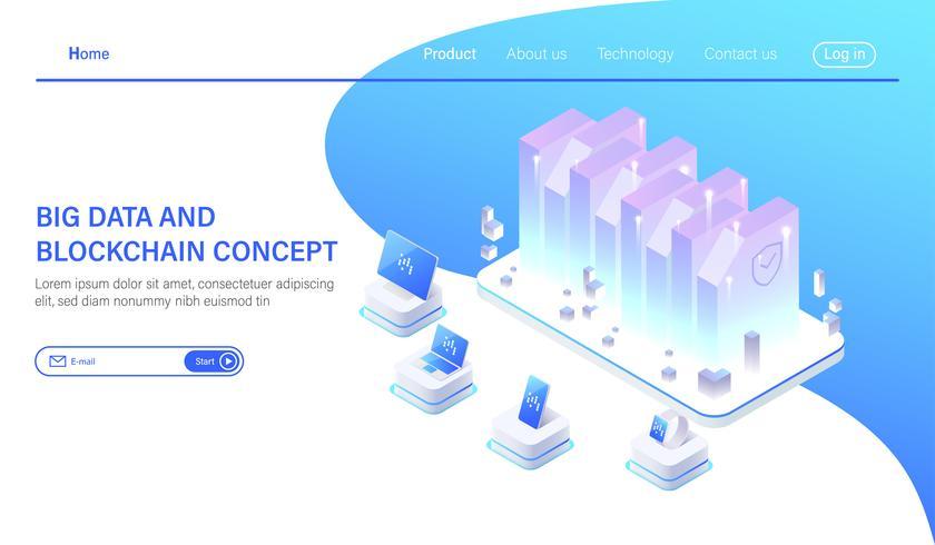 Big Data isometric vector illustration. Abstract 3d hosting server or data center room background