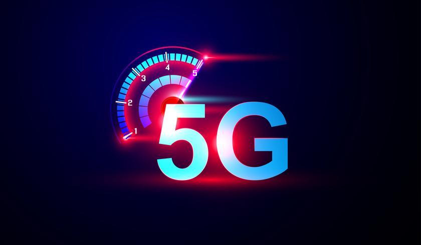 Logotipo do Internet da rede 5G com vetor do medidor de velocidade.