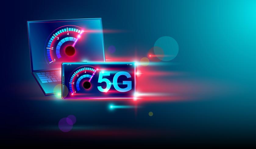 Internet de comunicación de red de alta velocidad 5G en vuelo; Computadora portátil isométrica y teléfono inteligente con medidor de velocidad y fondo azul oscuro. Vector