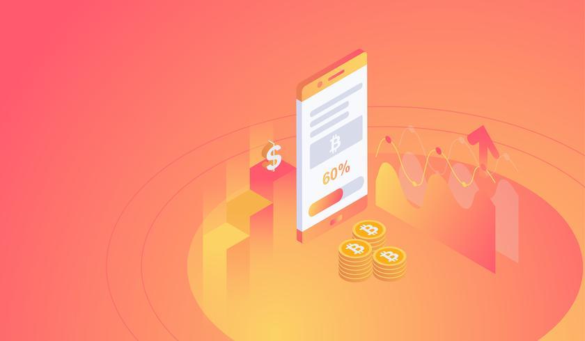Mineração isométrica do bitcoin no conceito do smartphone. ilustração vetorial
