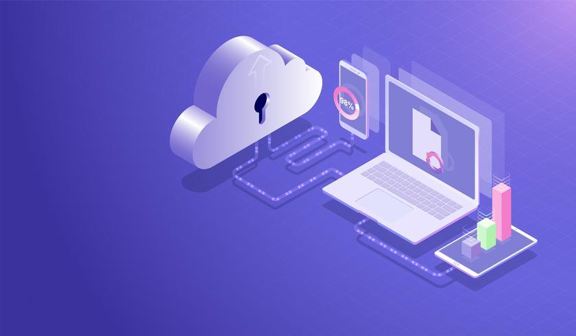 Centre de stockage de données Cloud isométrique et concept de cloud computing, processus de téléchargement de transfert de données par ordinateur portable, smartphone et tablette, serveur d'hébergement de base de données vecteur