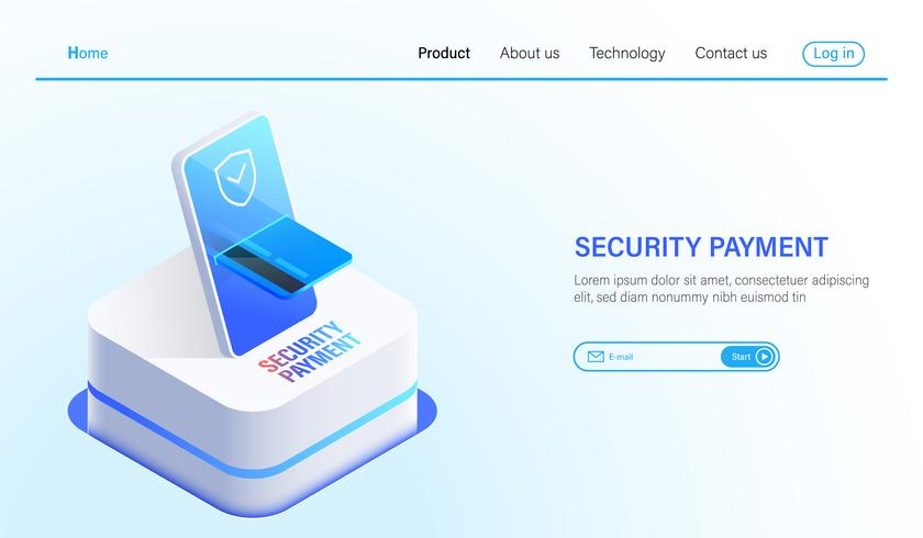 Isometric Security payment and data protection technology concept, online payment by smartphone and credit card with safety technology vector. vector