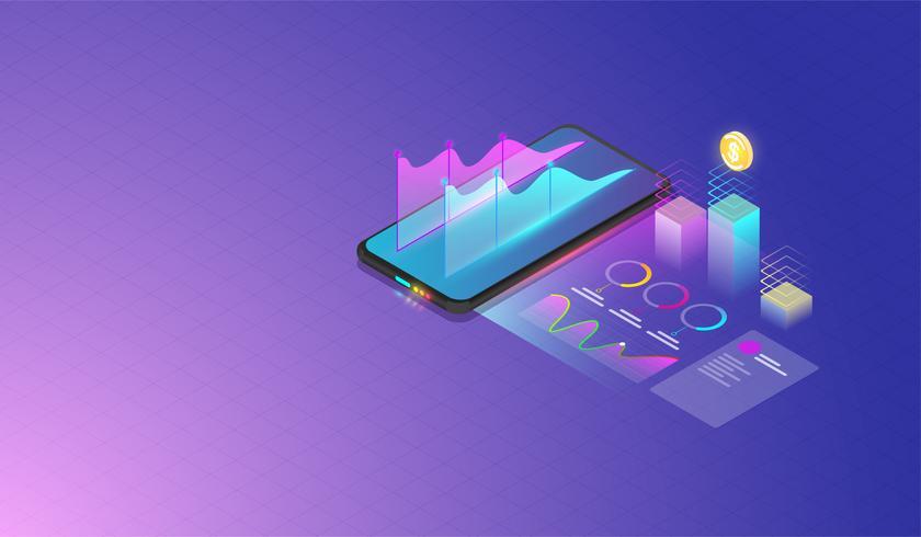 Analyse de données mobiles, recherche, planification, statistiques, finances, infographie, concept de vecteur de gestion. Vecteur
