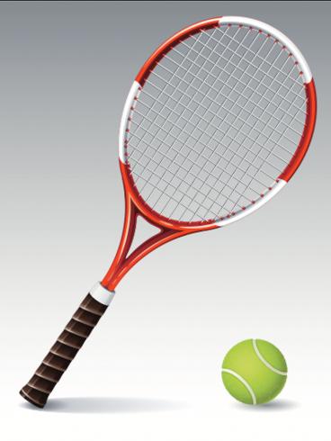Tennis racket and tennis ball illustration - vector