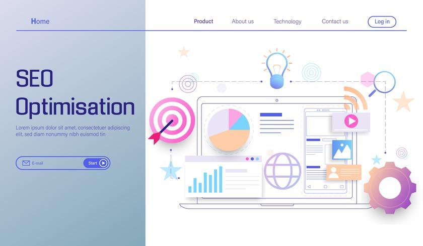 SEO optimization technology modern flat design, search engine analytics, web analytics, social and data analytics vector