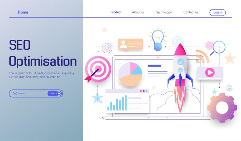 SEO optimization technology modern flat design, search engine analytics, web analytics, social and data analytics vector