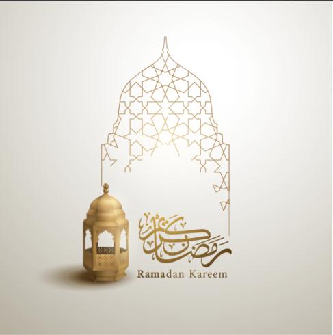 Ramadan Kareem caligrafia árabe saudação design islâmico linha mesquita cúpula com padrão clássico e lanterna - Vector