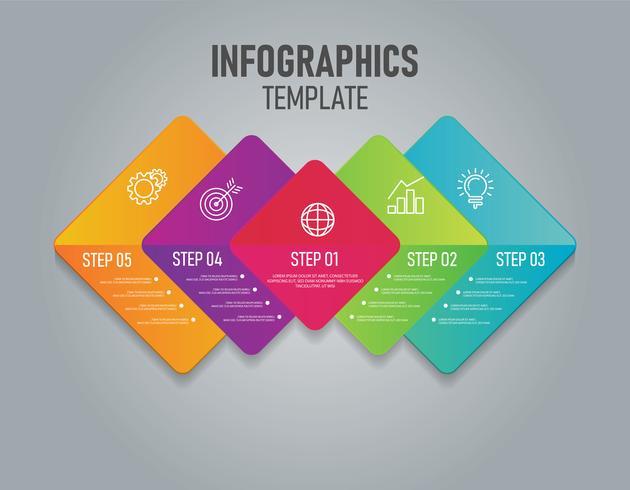 Kleurrijke Infographics van zaken met stap en 4 opties vector