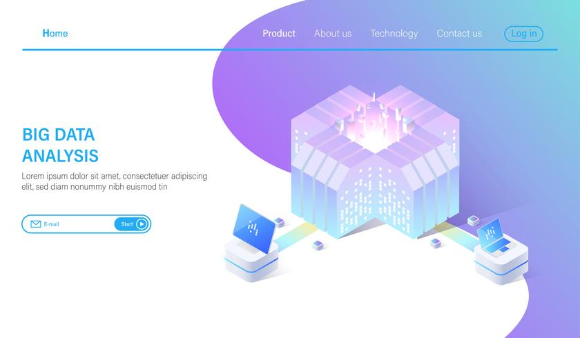 Illustration vectorielle isométrique Big Data. Abstrait 3d serveur d'hébergement ou fond de salle de centre de données vecteur