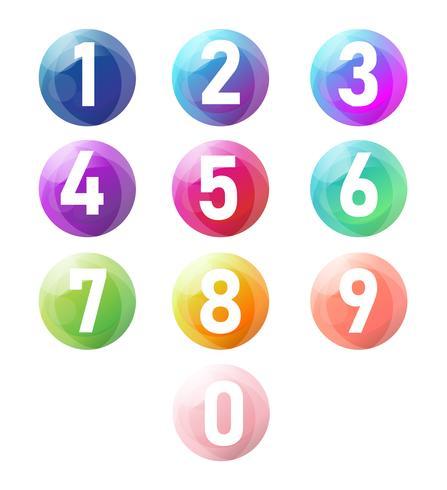 Vecteur du nombre zéro à neuf avec des boules 3d réalistes, ensemble du nombre.
