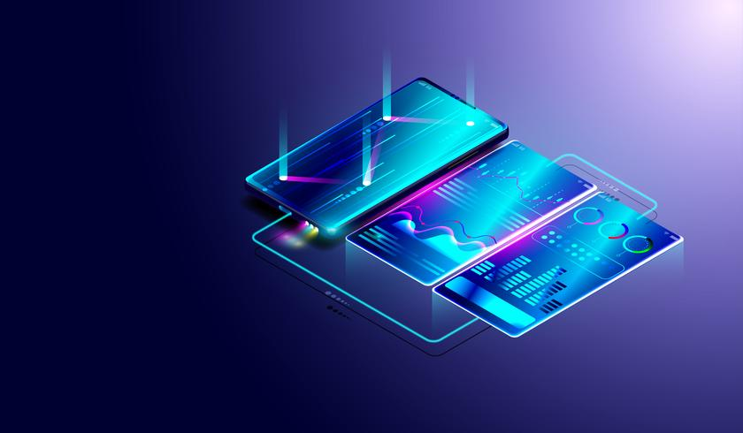 Business trend analysis on isometric smartphone screen with graphs and diagrams, process of financial and data analysis. vector