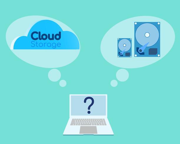 Vetor de comparar o conceito entre o disco rígido antigo com o novo banco de dados em nuvem para o seu negócio.