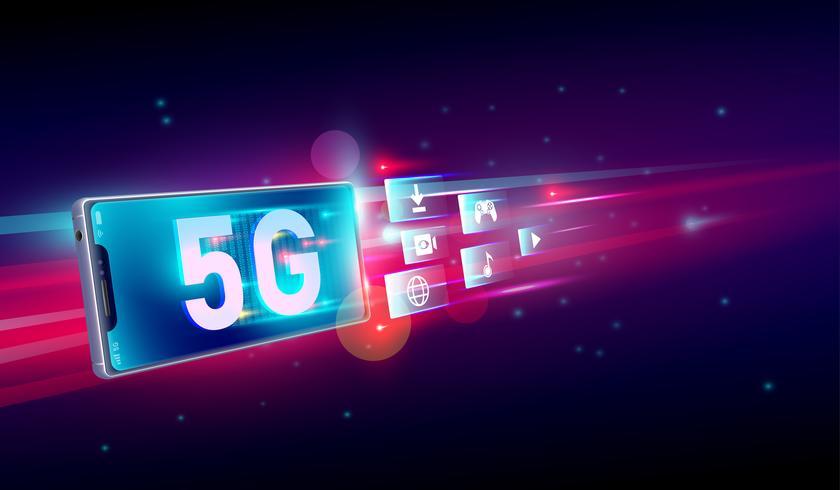 Ny 5: e generationen internet, 5G-nätverk trådlöst med höghastighetsanslutning online spel, nedladdning, online musik och filmer på smartphone koncept. Vektor