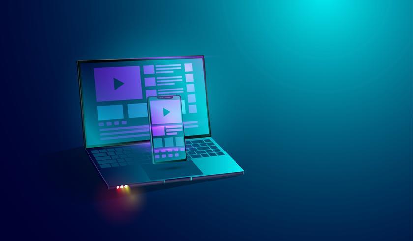 desenvolvimento web no conceito de tela do smartphone e laptop ', aplicativo interface do usuário - desenvolvimento de plataforma cruzada UX. vetor