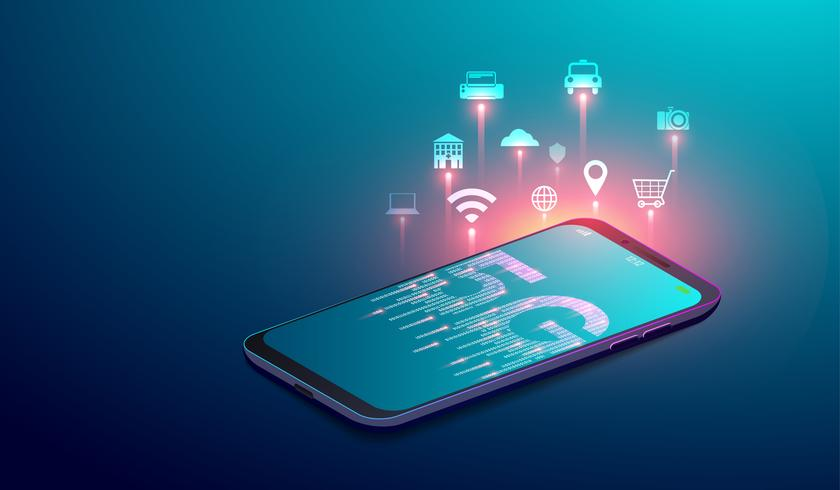 5G network wireless systems, smart city and internet of things concept with  icons on smartphone'screen. vector illustration.